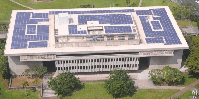 Kalanimoku Building in the Honolulu Capital District with 1,000 solar PV panels