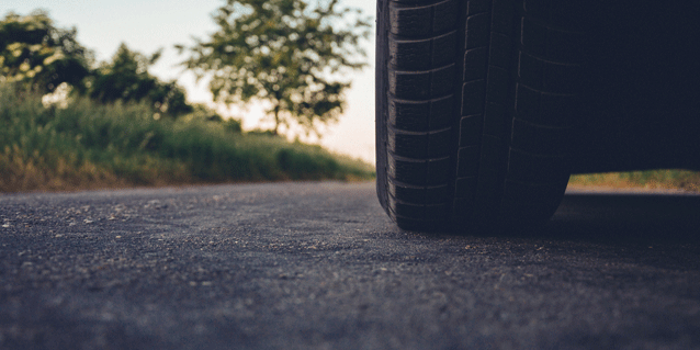 Stock photo of tire, road