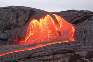 Photo: Volcano eruption, lava flow