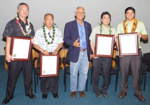 (L to R) Jimmy Kurata, Dept. of Accounting and General Services; Will Tungol, Dept. of Human Services; Senator Gabbard; Brandon Matsuoka (standing in for Paulette Abe), House Sgt. of Arms; Jon Chin, Dept. of Business, Economic Development, and Tourism