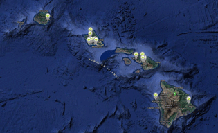 Satellite map of Hawaiian Islands