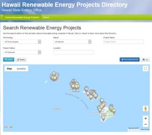 Screenshot of the Renewable Energy Projects Directory