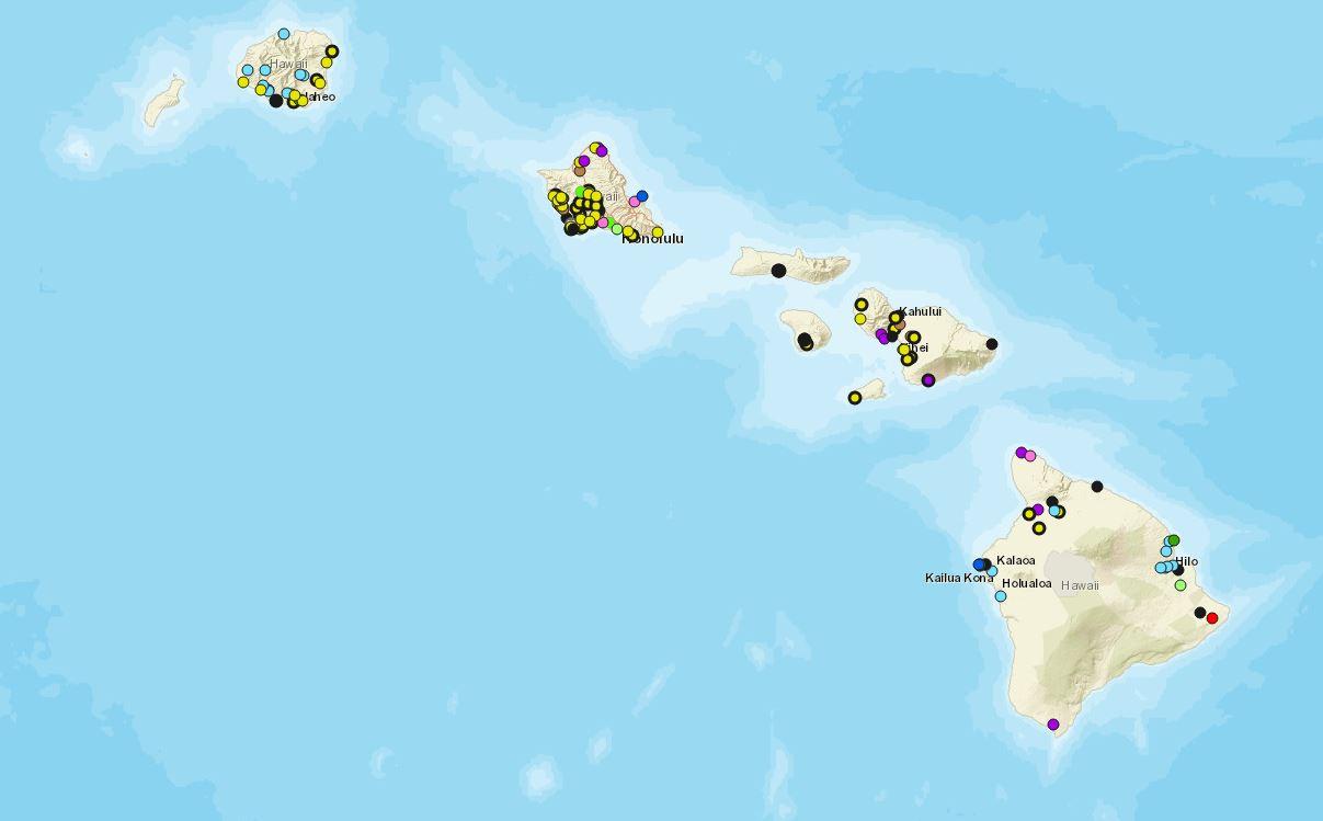 Map graphic of Hawaiian islands